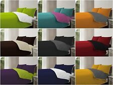 Reversible Duvet Quilt Cover With Fitted Sheet & Pillowcase Bed 4Pc Complete Set