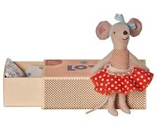 Maileg NEW Big Sister Mouse, Red Polka Dot Skirt, In Matchbox,  FREE GiftWrap