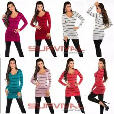 Womens New Long Sweater V Neck Black Striped Jumper Shimmer Mini Dress Size 8-10