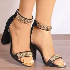 BLACK GOLD CHAIN ANKLE STRAP STRAPPY SANDALS PEEP TOES HIGH HEELS SHOES SIZE 3-8