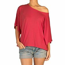 Angela Womens Short Sleeve Blouse Dolman Boat Neck Tee Shirt Top