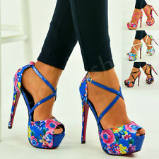 New Womens Ladies Floral Print High Stiletto Heel Ankle Strap Sandals Shoes Size