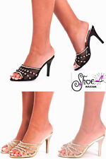 NEW WOMENS DIAMANTE PEEP TOE  LADIES PARTY SPARKLY HIGH HEELS SANDALS SIZE 3-8