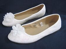NEW CHEROKEE GIRLS WHITE SPARKLY LACE BALLET SHOES  3, 4, 5