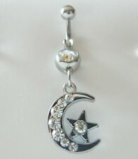 Beautiful Multi Gem Moon & Star Dangle Navel Belly Ring Clear Body Jewelry