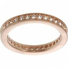 Alexandria Sterling Silver Rose Gold Cubic Zirconia Vintage Eternity Ring. Free