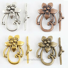10 Sets Antique Slver/Gold/Bronze Tibetan Silver Flower Shape Toggle Clasps