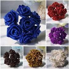 Foam Roses with Glitter Powder Flowers Bride Bouquet Home Wedding Party Decor