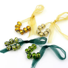 6PCS Multicolor European Style Lampwork Big Hole Assorted Glass Beads DIY Charms