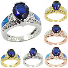 Tanzanite & Blue Fire Opal Inlay 925 Sterling Silver Ring Sz 6,7,8,9