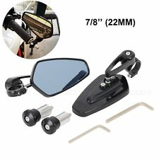 """Motorcycle Aluminum CNC Rear View Hand Bar End 7/8"""" Side Mirrors Universal Pair"""