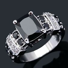 Woman's 10KT Gold Filled Black Sapphire Engagement Ring Fashion Jewelry
