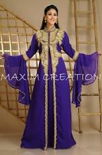 NEW Moroccan Purple Georgette Kaftan GOLD Embroidery Dubai Abaya Maxi Dress 3589