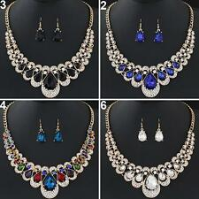 Women Fashion Rhinestone Waterdrop Pendant Necklace Earrings Jewelry Set Alert