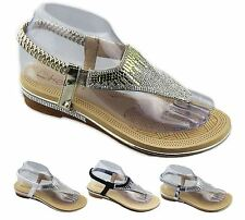 New Womens Diamante Sparkly Flat Wedding Sandals Open Toe Summer Slippers