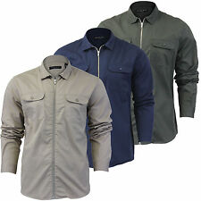 Mens T Shirt Brave Soul 'Squad' Zip Pocket Long Sleeve Collared Casual Top S-XL