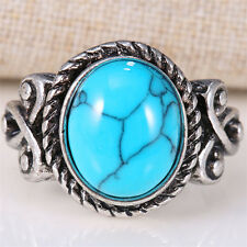 Blue Round Turquoise 925 Silver Ring Size 6-10 Women Natural  Wedding Jewelry