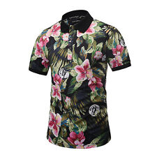 Summer Men T-shirt POLO  3D Printed Leaves Floral Short Sleeve Top Basic Tee