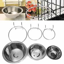 Stainless Steel Hanging Bowl Feeding Bowl Pet Bird Dog Food Water Cage Cup SU
