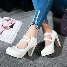 Womens Patent Leather High Heels Platform Pumps Ankle Strap Party Wedding Shoes