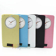 QUICK CIRCLE WINDOW CLOCK VIEW LEATHER FLIP COVER CASE HOUSING FOR LG G3