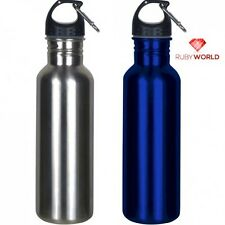 New Stainless Steel Silver Sports Blue Water Bottle Wide Mouth Carabiner 25 oz