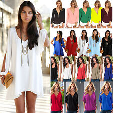 UK 6-20 Women's Summer Chiffon Tank Top T-shirt Ladies Casual Loose Blouse Shirt