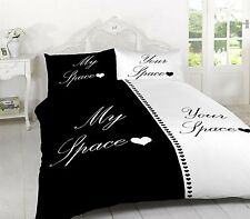 My Space Your Space Black & White Bedding Duvet Cover & Pillowcases Set