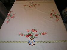 VINTAGE LARGE EMBROIDERED LINEN TABLECLOTH 50 X 50 INCHES .
