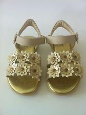 Primigi Maude Girls Beige/Gold Dress/Casual Leather Sandals with Flowers, NEW!