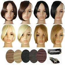 Brown 2 Clips In Natural Hair Extensions Front Bangs Fringe human Straight Hair