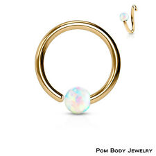 """Rose Gold IP Captive Bead Ring White Opal Ball """"Fixed One Side"""" Septum Nose Ring"""
