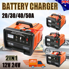 New 2IN1 Car Battery Charger 12V/24V 240V 20/30/40/50A AMP ATV Boat 4WD Caravan