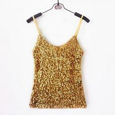 Ladies Sequin Vest Bling Spaghetti Strap Singlet Glitter Thin Camisole Tank Tops