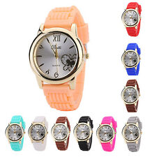 Women Butterfly Silver Tone Dial Soft Silicone Strap Quartz Wrist Watch Hot Sale