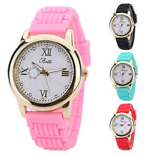 Women Candy Color Silicone Strap Round Dial Quartz Casual Wrist Watch Hot Sale