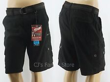 Plugg Mens Black Cargo Shorts 9 Pocket Belted Vintage Wash