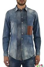 Dsquared2 DS2 Men's JEANS SHIRT Leather Pocket - 46/50 - Made in Italy