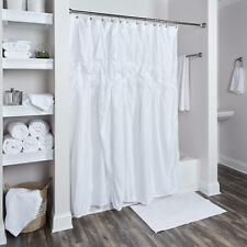 Spa Tranquility Chic White Textured Ruched Cotton Voile Fabric Shower Curtain