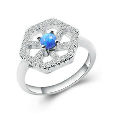 High Quality Inlay Beautiful Blue Opal 925 Sterling Silver Gemstone ring size6-9