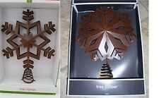 "CHRISTMAS 12"" 13"" BROWN COUNTRY SNOWFLAKE METAL CHRISTMAS TREE TOPPER DECORATION"