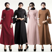 Kaftan Abaya Muslim Women Long Sleeve Maxi Dress Islamic Cocktail Clothes Party