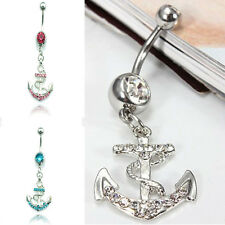 Hot  Rhinestone Anchor Dangle Button Barbell Belly Navel Ring Bar Body Piercing