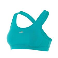 adidas GIRL'S BRA TOP Modest Feminine Scoop Neck GREEN/SILVER - Size 14 Or 16