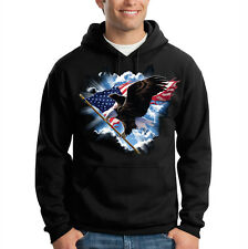 Patriotic Eagle Flying USA America Flag Freedom Hooded Sweatshirt Hoodie