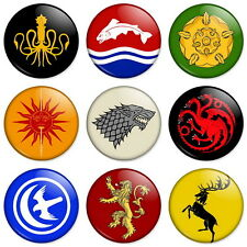 "GAME OF THRONES - HOUSE CRESTS SIGILS 25mm 1"" Pin Badge Button Lannister Stark"