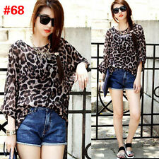 Summer Women Loose Leopard T-shirt Chiffon Batwing Sleeve Boho Style Tops Blouse