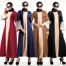 Muslim Islamic Women Kaftan Abaya Cocktail Long Maxi Dress Arab Lace Gowns Party