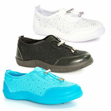 NEW KIDS GIRLS FLAT SLIP ON PLIMSOLLS PUMPS CANVAS TIE TRAINERS SHOES SIZE