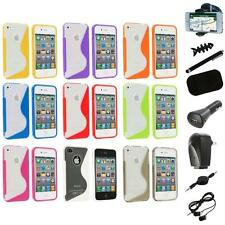 For iPhone 4S 4G 4 TPU Color Clear S-Line Rubber Skin Case Cover+8X Accessory
